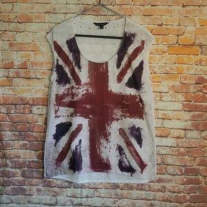 Rock & Republic British flag spray painted shirt